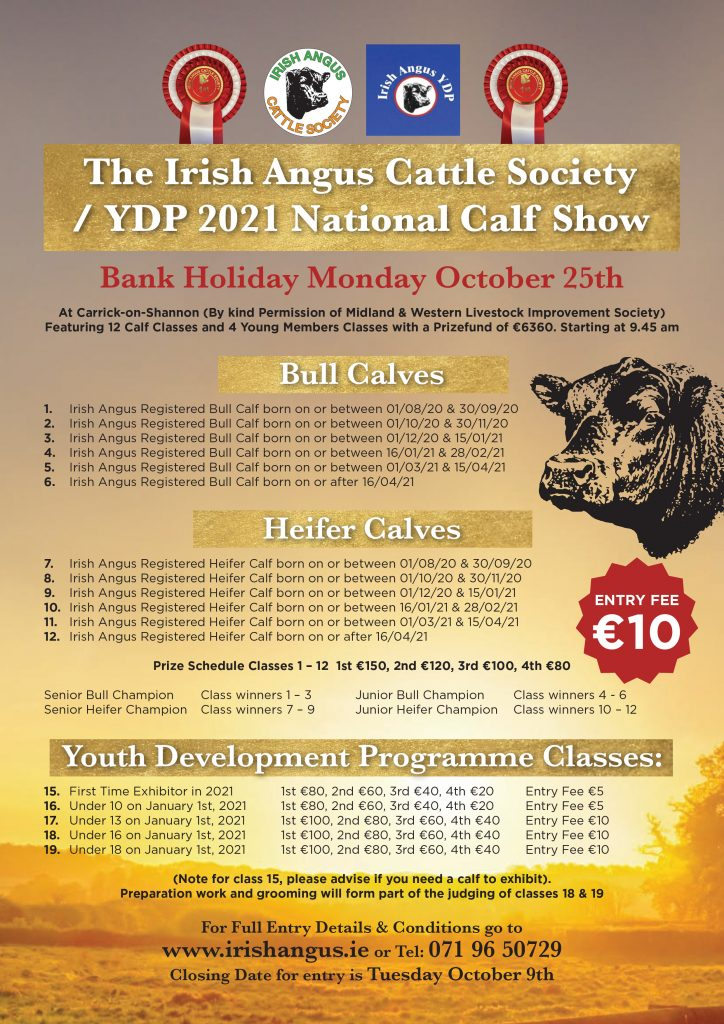 The Irish Angus Cattle Society / YDP 2021 National Calf Show Bank Holiday Monday October 25th